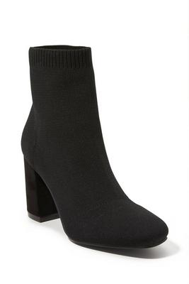 square-toe knit bootie