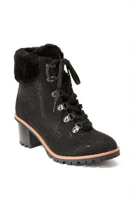 Sparkle Faux-Fur Heeled Bootie