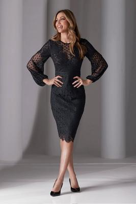 Swiss Dot And Lace Sheath Dress