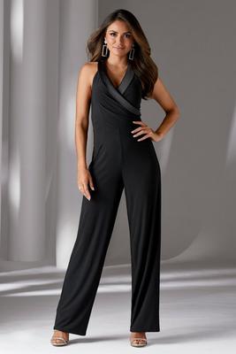 Sleeveless Tuxedo-Style Jumpsuit