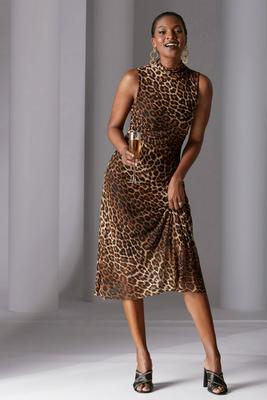 Mock-Neck Animal Print Mesh Ruched Dress
