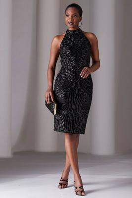 high-neck sleeveless embellished sheath dress