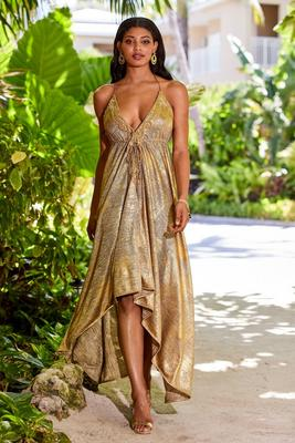 Gold Embellished Knit High-Low Maxi Dress