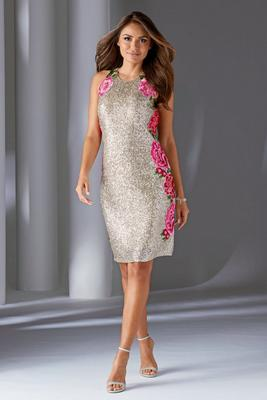 Embroidered Flower Sequin Sheath