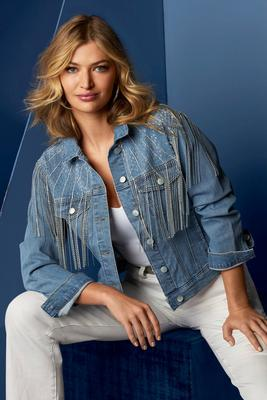 Display product reviews for Rhinestone Fringe Denim Jacket