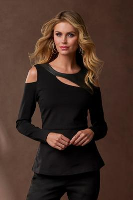 Faux-Leather Peplum Cutout Top