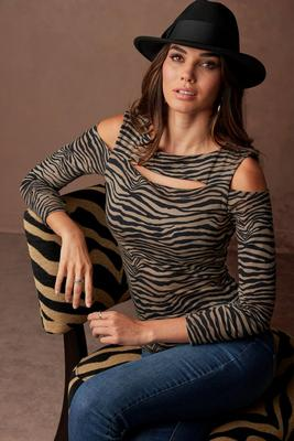 So Sexy™ Printed Cutout Cold-Shoulder Long-Sleeve Top