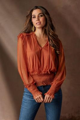 Mesh Tie-Front Smocked Top