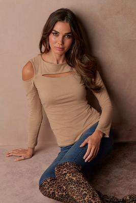 so sexy™ cutout cold-shoulder long-sleeve top
