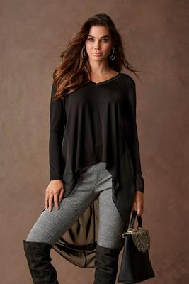 V-Neck High-Low Chiffon Top