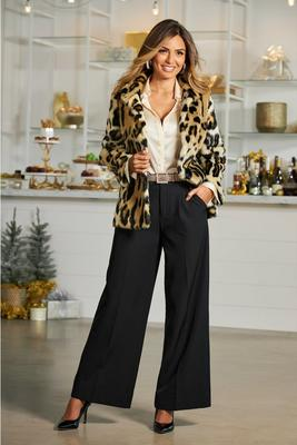 high-waist wide-leg crepe pant