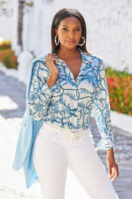 Display product reviews for Status Button Down Blouse