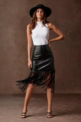 Display product reviews for Faux-Croc Fringe Skirt