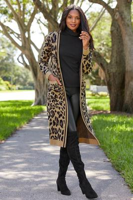 animal jacquard sweater duster