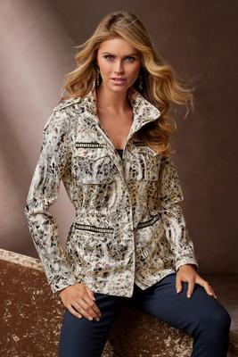Display product reviews for Foil Animal Print Anorak Jacket
