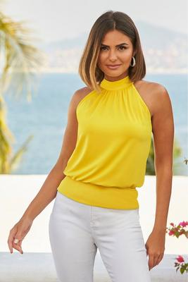 mock-neck halter banded-bottom top
