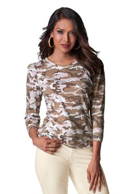 Display product reviews for Camo Printed Puff-Sleeve Tee