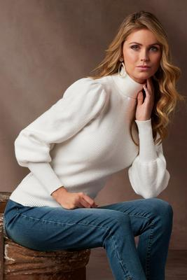Puff-Sleeve Turtleneck Sweater