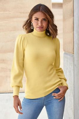 Display product reviews for Puff-Sleeve Turtleneck Sweater