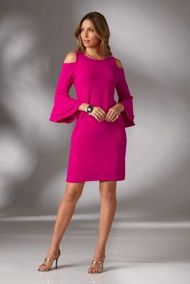 Beyond Travel™ Cold-Shoulder Flare-Sleeve Dress