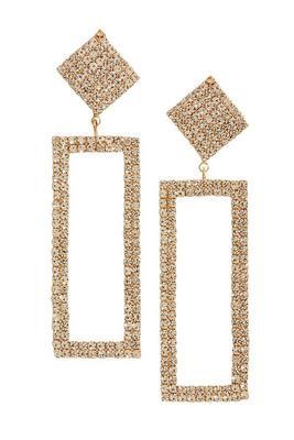 Geometric Rhinestone Statement Earrings