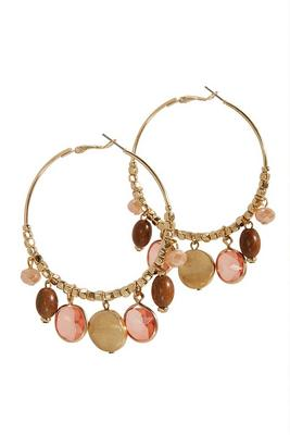 neutral stone statement hoop earrings