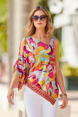 printed cold-shoulder asymmetrical top