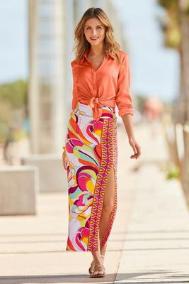 Side Slit Print Maxi Skirt