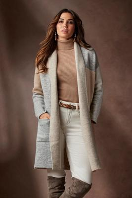 Display product reviews for Color-Block Sweater Coat