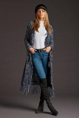 Frayed Long Tweed Duster