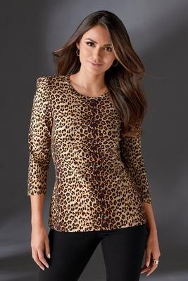 Animal Print Puff-Sleeve Tee