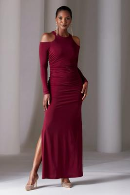 Cold-Shoulder Ruched Slit Gown