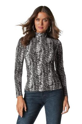 Snakeskin Print Turtleneck Top