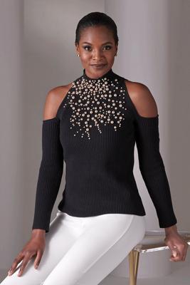 Mock-Neck Pearl Statement Sweater