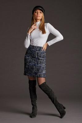 tweed above-the-knee skirt