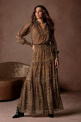 Long-Sleeve Smocked Animal Print Maxi Dress