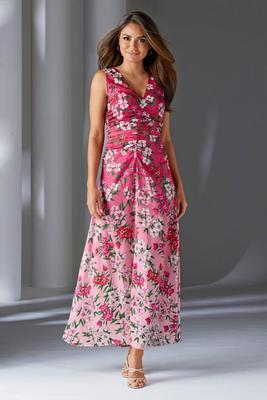 Floral Ombre Ruched V-Neck Maxi Dress