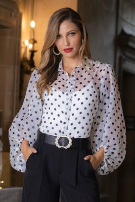 Polka-Dot Balloon Sleeve Top