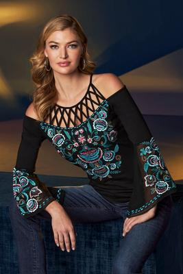 Display product reviews for Cold-Shoulder Cage-Detail Embroidered Flare-Sleeve Top