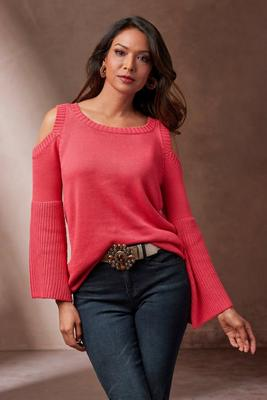 Cold-Shoulder Flare-Sleeve Sweater