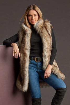 Faux-Fur Long Vest