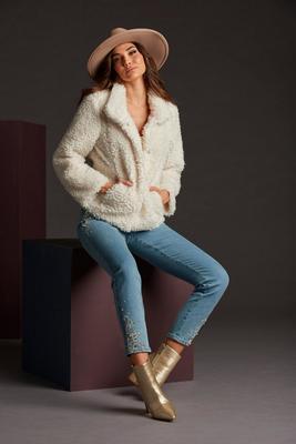 Neutral Embellished Ankle Jean