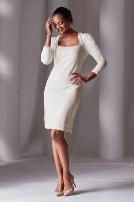 puff-sleeve square-neck sheath dress