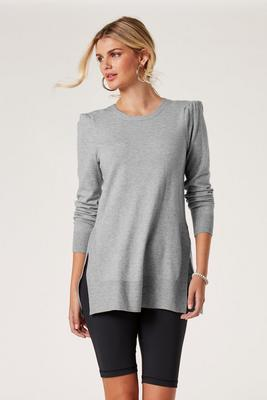 Puff-Sleeve Side-Slit Sweater