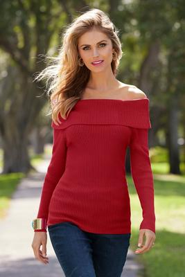 Beyond Basics Ribbed Off-The-Shoulder Sweater