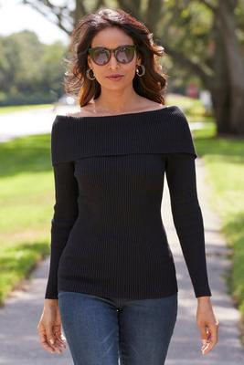 Display product reviews for Beyond Basics Ribbed Off-The-Shoulder Sweater