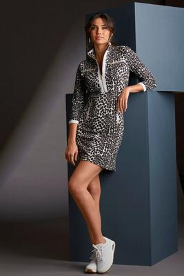 Animal Print Three-Quarter Sleeve Chic-Zip Dress
