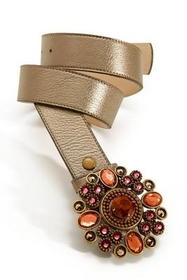 neutral embellished buckle belt