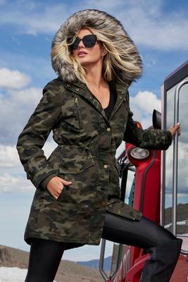 camo storm coat with faux-fur trim