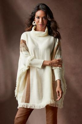 Metallic Stripe Fringe Sweater Poncho